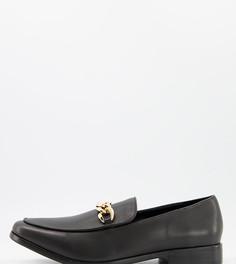 Черные кожаные летние туфли дляширокой стопы с плетеной отделкой и шнуровкой Rule London-Черный цвет