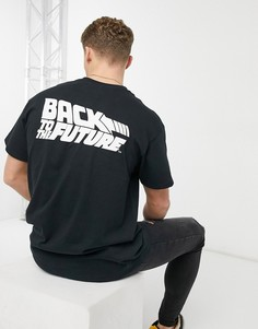 Черная футболка в стиле oversized с принтом «Back To The Future» New Look-Черный