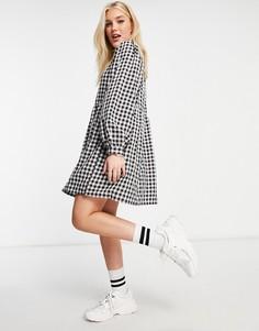 Свободное платье мини с воротником и принтом в клеточку Daisy Street-Черный цвет