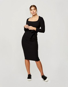Черное платье миди в рубчик с длинными рукавами Miss Selfridge-Черный цвет