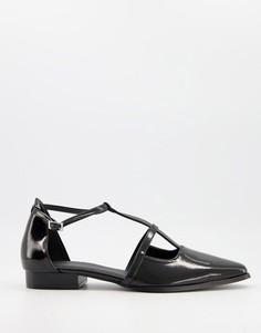 Черные туфли на плоской подошве с острым носком ASOS DESIGN Malay-Черный цвет