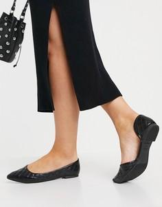 Черные стеганые туфли на плоской подошве с заостренным носом New Look-Черный цвет