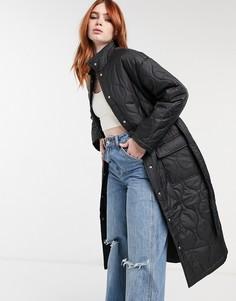 Черное длинное дутое пальто со стеганой отделкой Bershka-Черный цвет