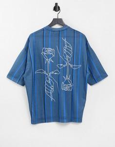 Oversized-футболка голубого цвета вполоску и с принтом контурного рисунка цветка наспине ASOS DESIGN-Голубой