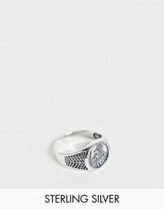 Кольцо-печатка из шлифованного стерлингового серебра с изображением Святого Христофора ASOS DESIGN-Серебристый