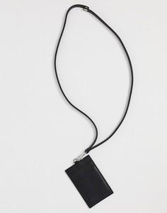 Черный кожаный бумажник сремешком и кредитницей ASOS DESIGN