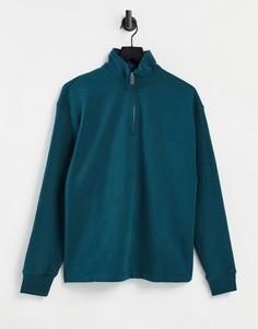 Зеленый свитшот на молнии 1/4 Topman-Зеленый цвет