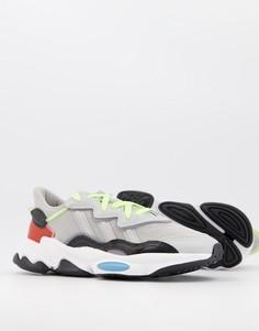 Серые кроссовки с цветными вставками adidas Originals Ozweego-Серый