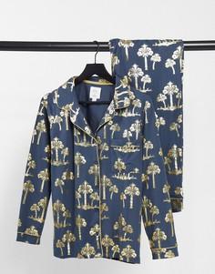 Пижама из экологичного полиэстера сотложным воротником, принтом пальм и эффектом металлик Chelsea Peers-Черный цвет