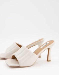 Стеганые туфли кремового цвета на каблуках NA-KD-Белый