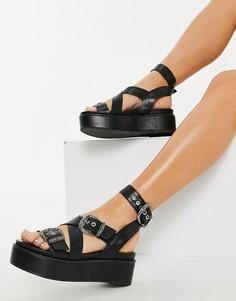 Черные сандалии на массивной платформе ASOS DESIGN Toby-Черный цвет