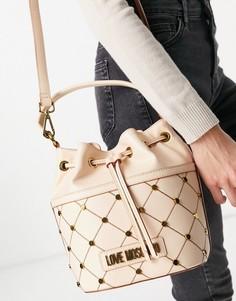 Бежевая сумка-мешок с декоративными заклепками Love Moschino-Нейтральный