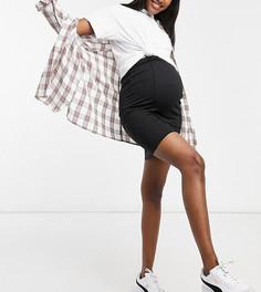 Черная облегающая юбка с подсадкой над животом Mamalicious Maternity-Черный цвет Mama.Licious
