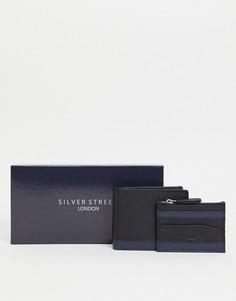 Кожаный кошелек и кредитница Silver Street-Черный цвет