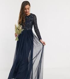 Темно-синее платье макси с пайетками в тон, длинными рукавами и юбкой из тюля Maya Petite Bridesmaid-Темно-синий