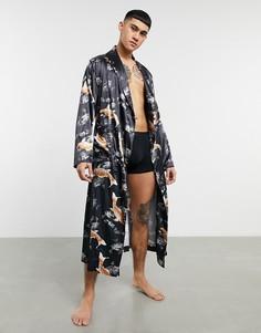 Атласный халат для дома с принтом рыбок от комплекта ASOS DESIGN-Черный цвет