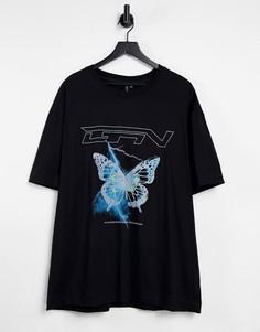 Черная oversized-футболка с принтом в виде бабочки и логотипом Good For Nothing-Черный цвет