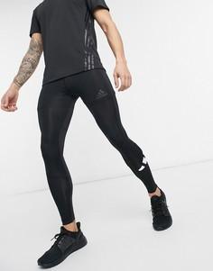Черные тайтсы с логотипом в виде 3 полосок adidas Training-Черный цвет