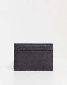 Черная кожаная кредитница HUGO Subway-Черный цвет