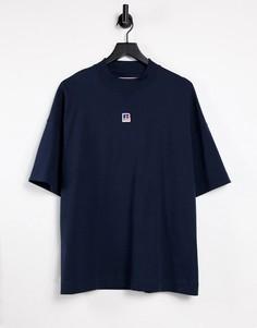 Темно-синяя свободная футболка с высоким воротом Boss x Russell Athletic-Темно-синий
