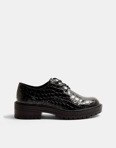 Черные лакированные броги на шнуровке с эффектом крокодиловой кожи Topshop-Голубой