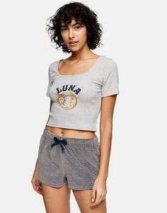 Серая пижама с рисунком полумесяца Topshop-Серый