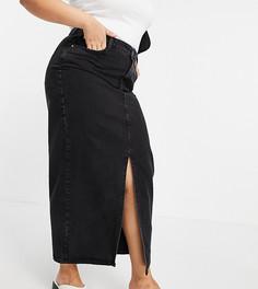 Черная выбеленная юбка макси из органического денима в стиле 90-х ASOS DESIGN Curve-Черный цвет