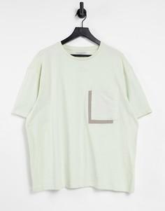 Мятно-зеленая oversized-футболка с большим карманом Another Influence-Зеленый цвет