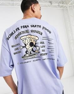 Oversized-футболка выбеленного синего цвета с принтом пиццы наспине ASOS DESIGN-Голубой