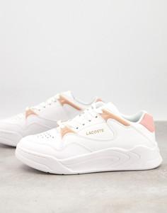 Бело-розовые кроссовки на массивной подошве Lacoste Courtslam-Белый