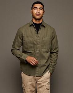 Рубашка навыпуск цвета хаки «велочку» Topman-Зеленый цвет