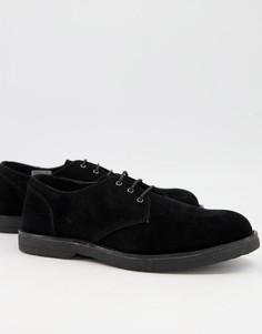 Черные замшевые туфли дерби намассивной подошве Topman-Черный цвет