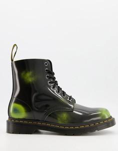 Черно-зеленые кожаные ботинки с 8 парами люверсов Dr Martens 1460-Зеленый цвет