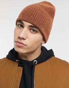 Коричневая шапка-бини в стиле oversized ASOS DESIGN-Светло-коричневый
