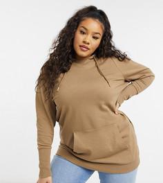 Светло-коричневый премиальный худи в стиле oversized Vero Moda Curve-Коричневый цвет