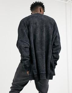 Черная трикотажная куртка-бомбер в стиле extreme oversized с эффектом кислотной стирки ASOS DESIGN-Зеленый цвет