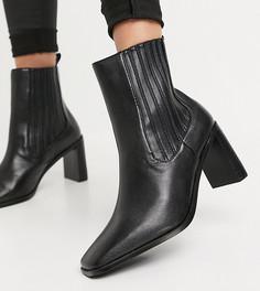 Черные ботинки челси на каблуке для широкой стопы RAID Wide Fit Benita-Черный цвет