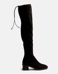 Черные сапоги на высоком каблуке длиной выше колен Topshop-Черный цвет