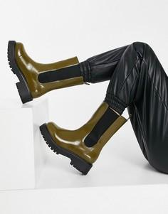 Коричневые ботинки из искусственной кожи на массивной подошве Monki Maddie-Коричневый цвет