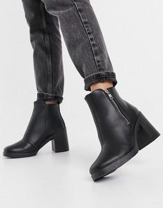 Черные ботинки на массивном каблуке с молнией Topshop-Черный цвет