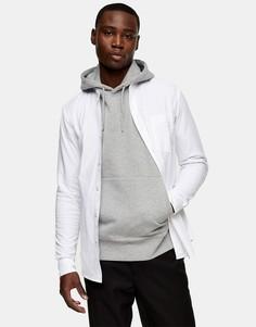 Белая эластичная оксфордская рубашка облегающего кроя своротником-стойкой Topman-Белый