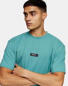 Зеленая футболка с фирменной нашивкой Topman-Зеленый цвет