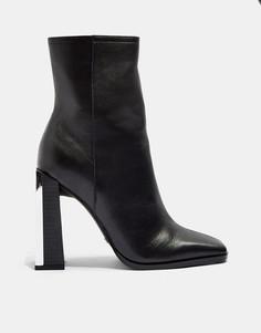 Черные ботинки на узком каблуке Topshop-Черный цвет