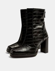 Черные ботинки на массивном каблуке Topshop-Черный цвет