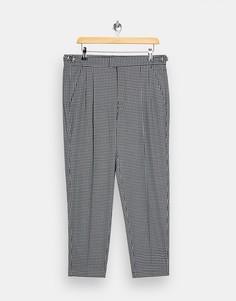 Зауженные брюки с черно-белым узором «гусиная лапка» Topman-Черный цвет