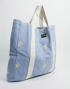 Большая сумка-тоут голубого цвета с вышитыми ромашками Stan Ray-Голубой
