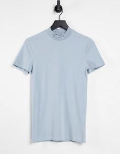 Голубая обтягивающая футболка с высоким воротом ASOS DESIGN-Голубой