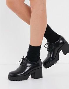 Черные массивные ботинки на шнуровке из искусственной кожи Monki Vanessa-Зеленый