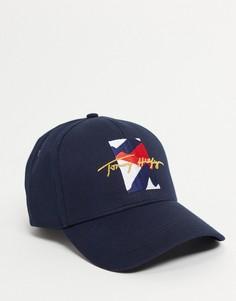 Темно-синяя кепка с логотипом и надписью Tommy Hilfiger-Темно-синий