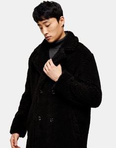 Черное двубортное пальто изискусственного меха Topman-Черный цвет